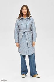 Классное пальто из стеганой ткани голубого цвета с периливом, размер  42, 44,  48