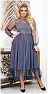 Сукня вечірня батал NOBILITAS 50 - 54 синє трикотаж з люрексом і сіточка (арт. 19075), фото 2
