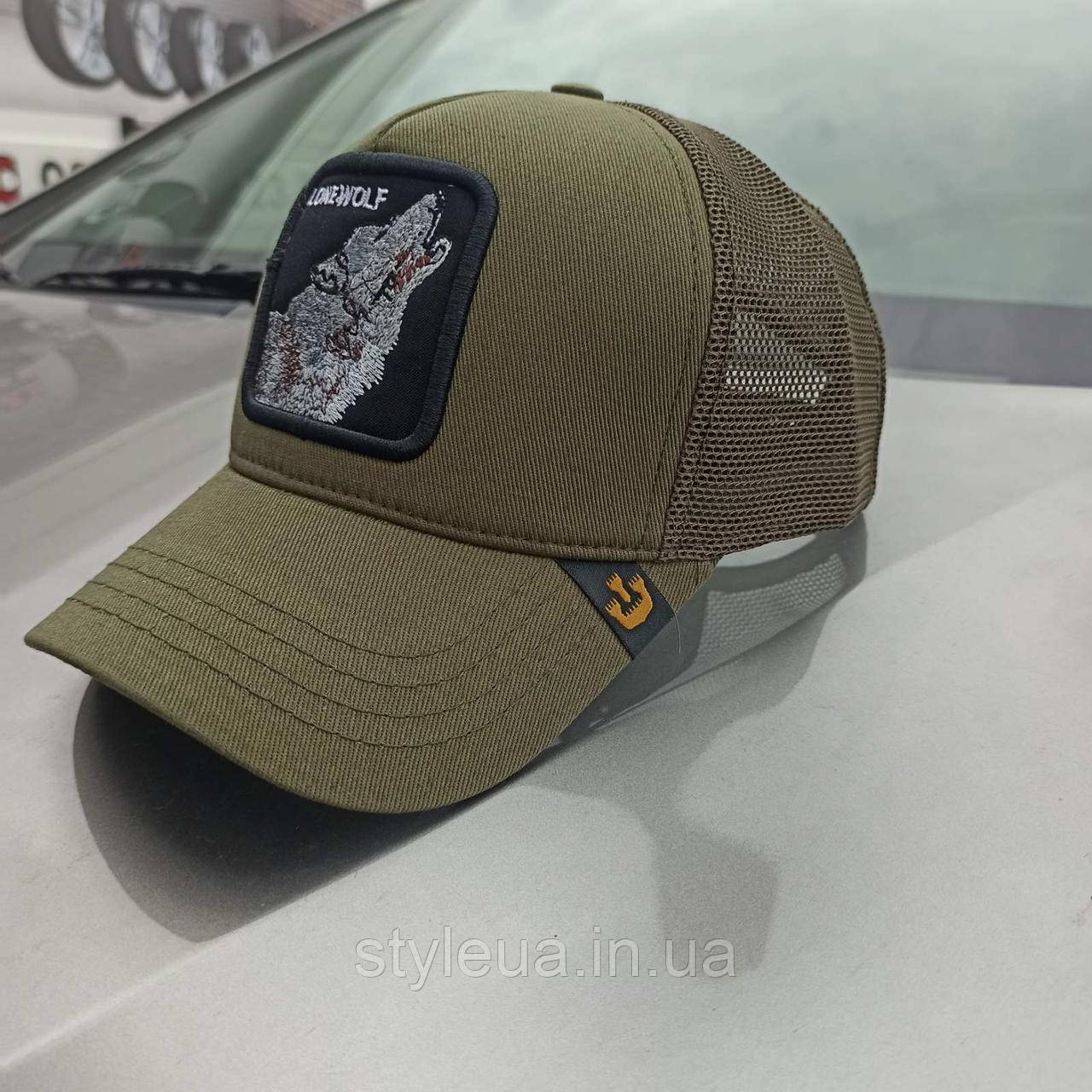 Бейсболка кепка мужская летняя спортивная удобная с сеткой LONE WOLF оливкового цвета