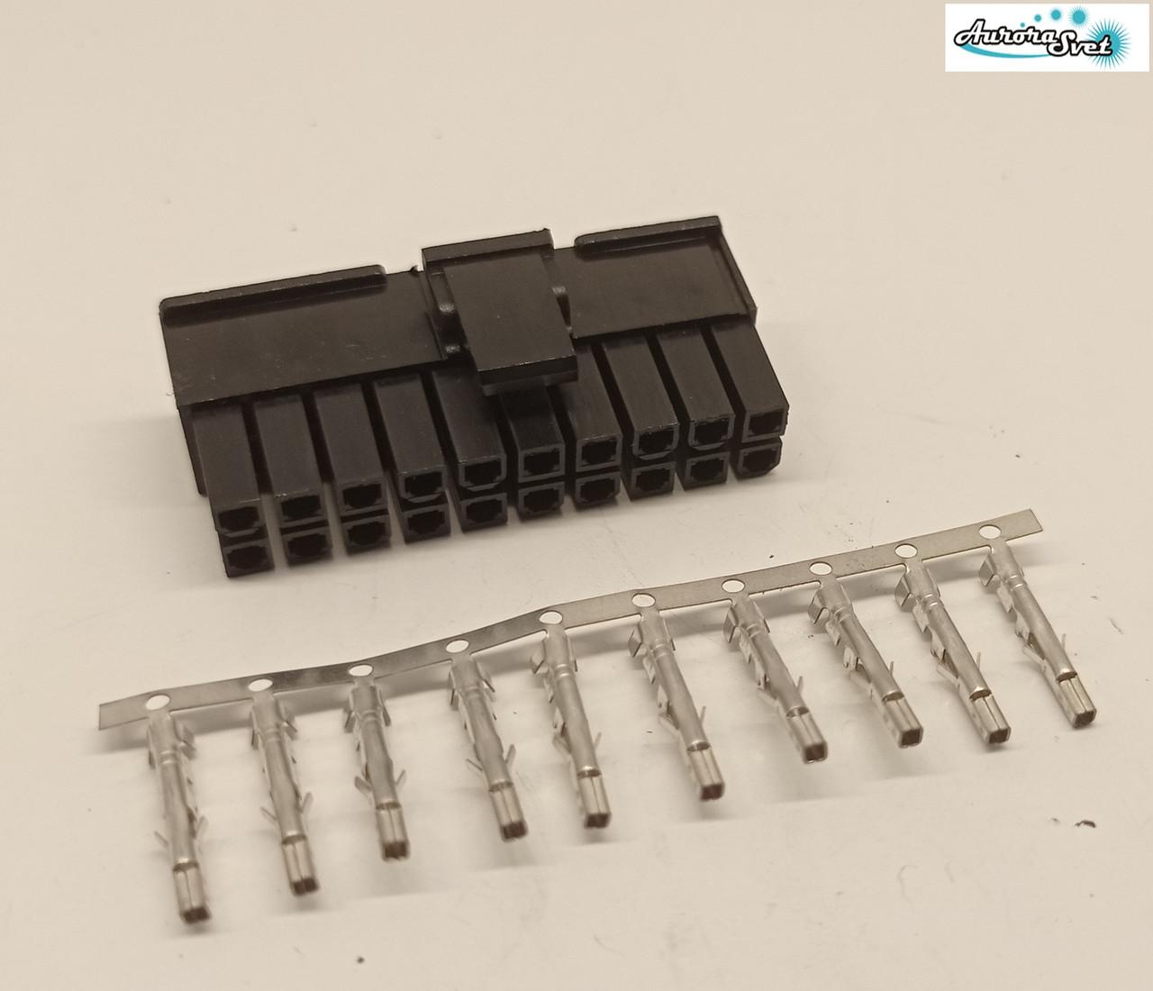 Разъем Molex 20 контактный мама + контакты,для питания видеокарты под обжимку.Коннектор  PCI-E 4.2mm  2x10Pin