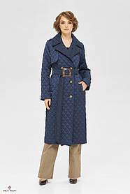 Длинное  пальто женское синего цвета с утепленной подкладкой, размер  от 42 до 50