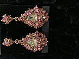 Ніжні сережки з рожевим камінням кольору золото, фото 2