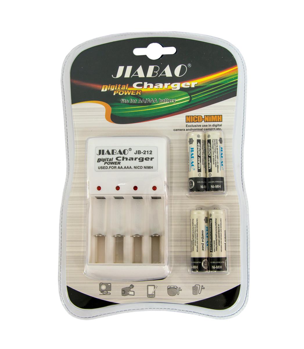 Зарядний пристрій акумуляторних батарей JIABAO JB-212 + акумулятори 4 шт. (AA)