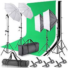 Комплект Освітлення для Фотостудії HPUSN: Набір Софтбоксов з Фонами і Стійками і Фонів (FY205)