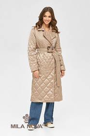 Однотонное легкое пальто стеганое бежевого цвета, размер  от 42 до 50