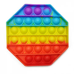 Антистресс игрушка-пупырка POP-IT Попит PPT-O Восьмиугольник Радужный