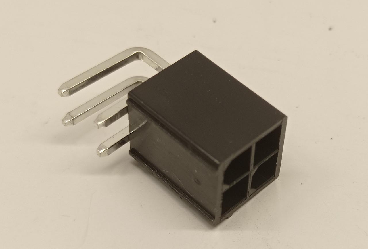 Разъем 4pin Mini-Fit  угловой вилка + контакты,для питания видеокарты под пайку.Коннектор 4.2мм 2x2Pin