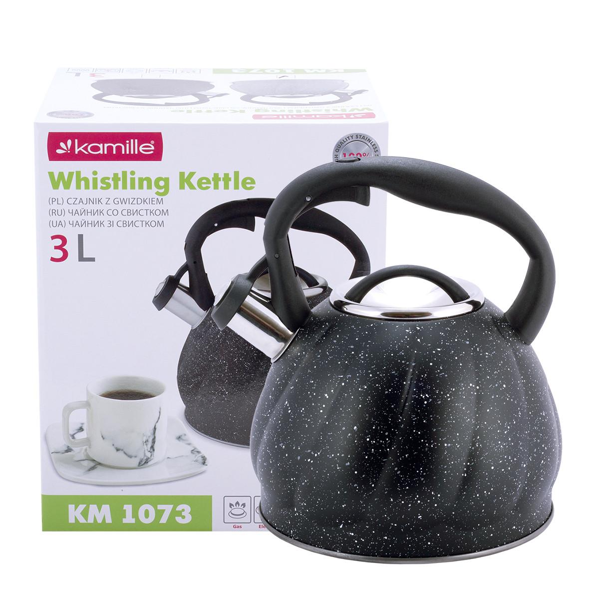 Чайник Kamille Черный 3л из нержавеющей стали со свистком и нейлоновой ручкой для индукции и газа KM-1073