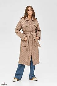 Симпатичное прямое пальто стежка с утеплением цвета капучино, размер  от 42 до 50