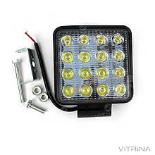 Светодиодная фара LED (ЛЕД) квадратная 48W, 16 ламп, узкий луч 10/30V 6000K | VTR