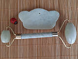 Набор массажер роллер для лица и тела плюс скребок Гуаша Корона, фото 2