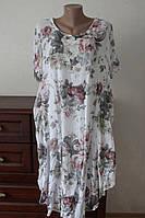 Женское летнее натуральное платье свободного покроя большого размера 52/54