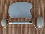 Набір масажер ролер для обличчя і тіла плюс скребок Гуаша Прямий, фото 2