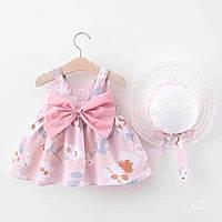 Детское платье с шляпкой на девочку 6-9 мес, 2-3 года (74, 98 см)