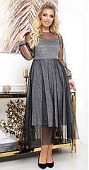 Сукня вечірня батал NOBILITAS 50 - 54 чорне трикотаж з люрексом і сіточка (арт. 19075)