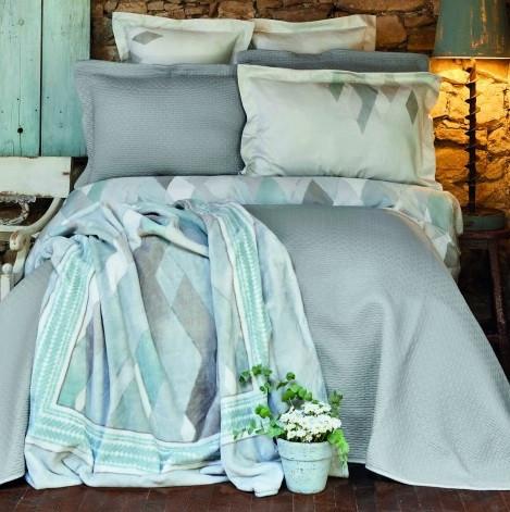 Набір постільна білизна з покривалом + плед Karaca Home - Lauro gri сірий євро