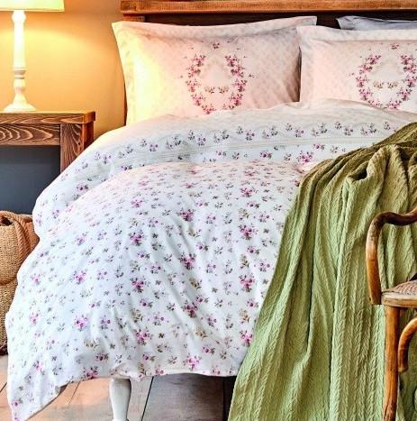 Набір постільна білизна з покривалом піку Karaca Home - Sonya yesil зелений піку 200*230 євро