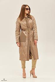 Двухстороннее бежевое пальто с джинсовой отделкой и кнопками, размер  от 42 до 50