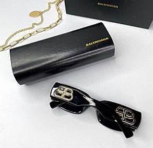 Женские солнцезащитные квадратные очки Баленсиага реплика Черные, фото 3