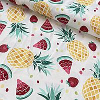 Ткань декоративная с ананасами и арбузами на белом с тефлоновой пропиткой, ш.180 см
