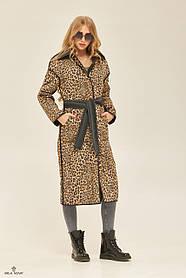 Дизайнерский женский плащ двухсторонний 2 в 1 с леопардовым принтом, размер  от 42 до 50