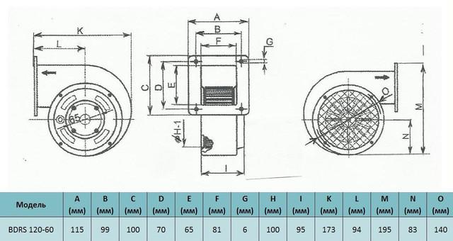Габариты центробежного вентилятора Bahcivan BDRS 120-60, купить в Киеве, купить в  Украине, заказать, отзывы, характеристики, фото, габариты