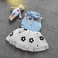 Модное детское платье под джинс на девочку 92 см летний сарафан для девочек 1-2 года