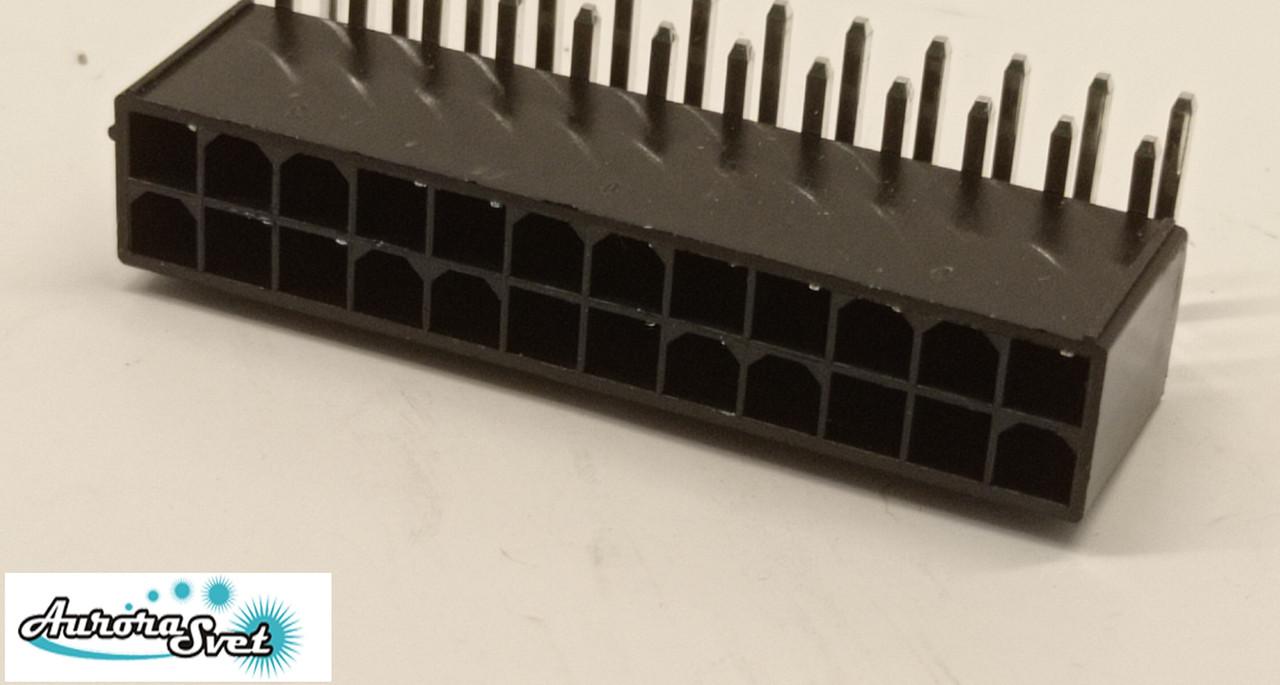 Роз'єм 24pin Mini-Fit 90 градусів вилка + контакти,для живлення відеокарти під пайку.Конектор 4.2 мм 2x4Pin