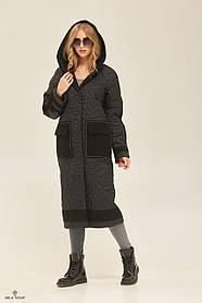 Черный женский плащ  из пальтовой плотной ткани с капюшоном, размер  от 44 до 54