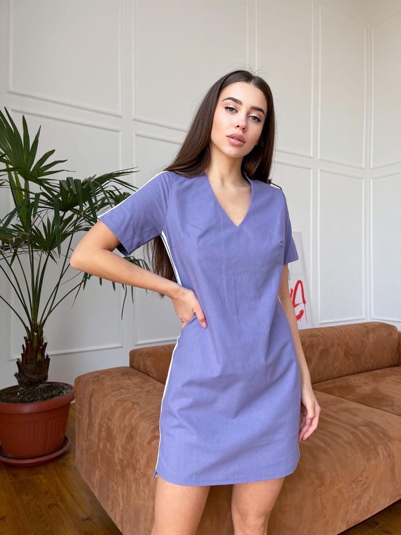 Женское платье - туника, лен, р-р 42-44; 46-48 (лаванда)