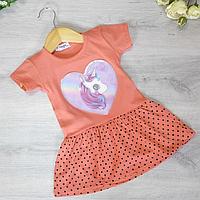 Детское платье, трикотажное, для девочек 5-8 лет (4 ед. в уп. )