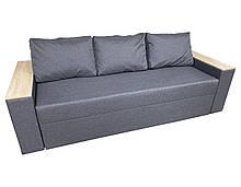 Удобный прямой раскладной диван еврокнижка комфортный для ежедневного сна Бостон Серый