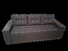 Удобный прямой трехместный диван еврокнижка раскладной красивый в гостиную для сна Комфорт Коричневый/Черный