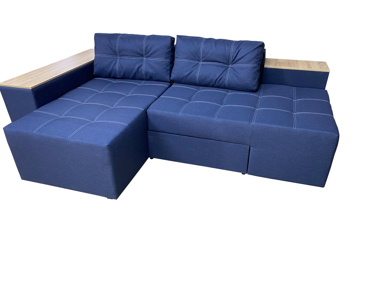 М'який комфортний кутовий диван гарний для дому у вітальню від виробника БАВАРІЯ синій