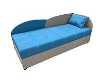 Диван-кровать односпальный с подъемным механизмом и бельевым ящиком для подростков Волна Голубой