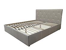 Кровати тканевые 160х200 с мягким изголовьем в мягкой обивке Бежевый Хилтон