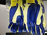 Захисні робочі рукавички господарські рукавички з латексним покриттям сині WERK 2138, фото 9