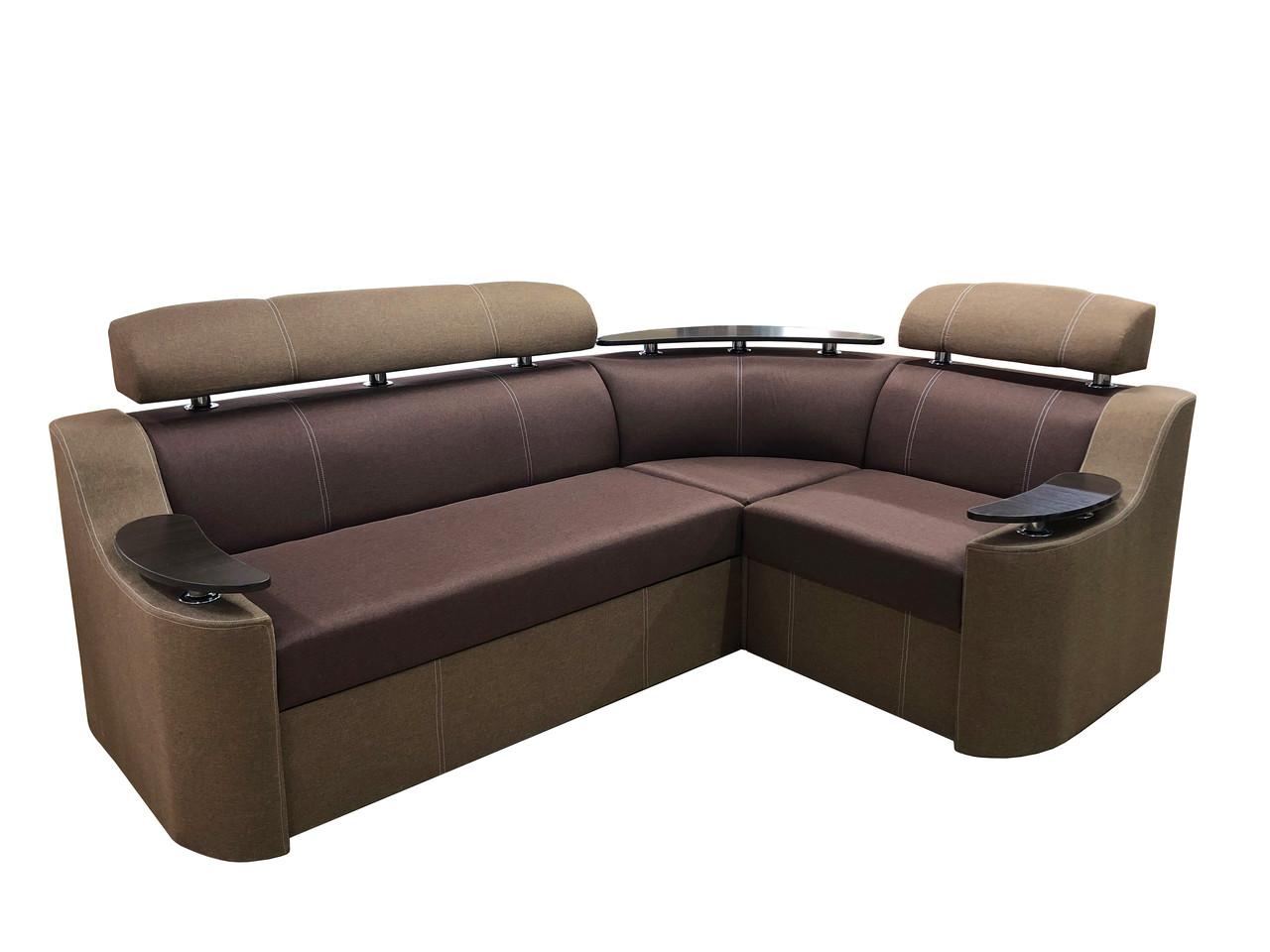 Угловой диван Дельфин НЕВАДА с столиком в гостиную, комфортный угловой диван красивый для дома Коричневый
