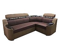 Угловой диван Дельфин НЕВАДА с столиком в гостиную, комфортный угловой диван красивый для дома Коричневый, фото 1