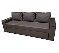 Удобный прямой раскладной диван еврокнижка комфортный для ежедневного сна Бостон Коричневый