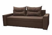 Удобный прямой трехместный диван еврокнижка мягкий красивый в гостиную Даллас Коричневый