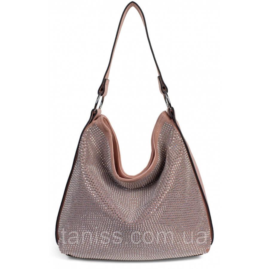 Женская,стильная сумка. материал экокожа и  иск.замш,одна средняя ручка, три отделения,стразы (8645-5) розовая