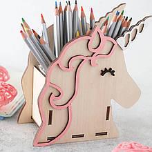 Карандашница из дерева дизайн единорог с гривой