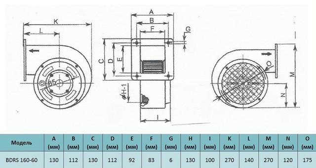 Габариты центробежного вентилятора Bahcivan BDRS 160 60. Купить в Украине.