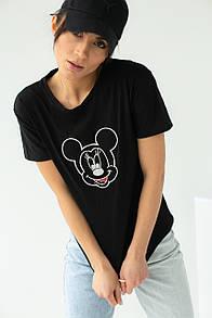 Женская футболка с вышивкой Микки Маус в черном цвете
