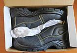 Антискользящие рабочие ботинки спецобувь из кожи с металлическим подноском BRYES-T-SB, фото 8