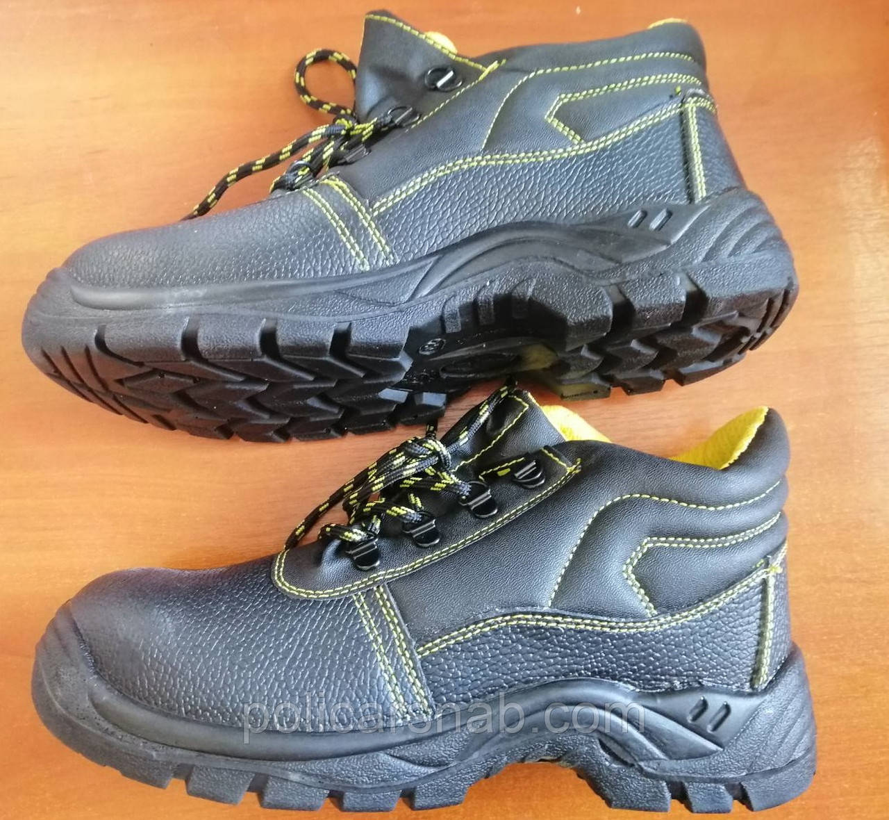 Антискользящие рабочие ботинки спецобувь из кожи с металлическим подноском BRYES-T-SB