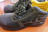 Антискользящие рабочие ботинки спецобувь из кожи с металлическим подноском BRYES-T-SB, фото 2