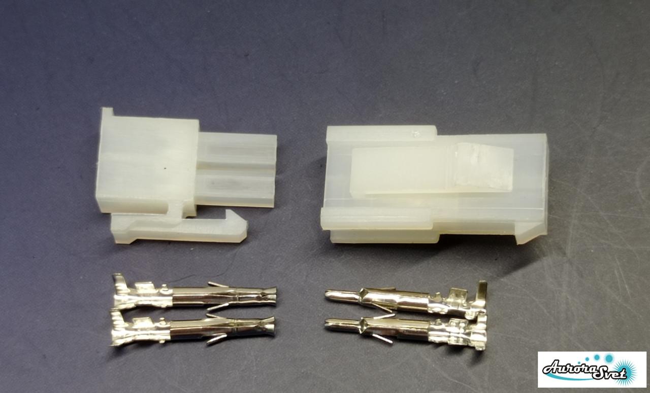 Разъем 2Р 4pin Mini-Fit 4.2mm комплект + контакты,для питания электроники под обжимку.боково замокй
