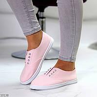 Комфортные практичные розовые спортивные женские мокасины хлопок коттон